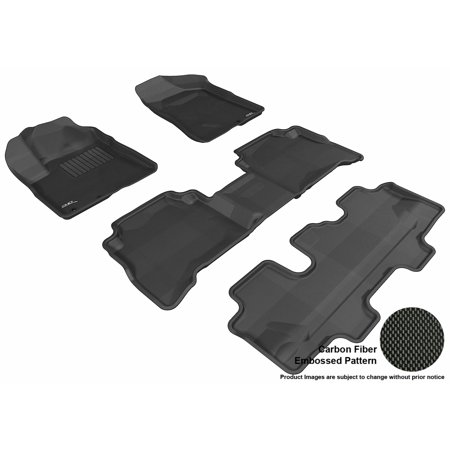 3D Maxpider 2011 2013 Kia Sorento Front  Second    Third Row Set All Weather Floor Liners In Black With Carbon Fiber Look