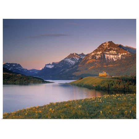 Great BIG Canvas | Rolled Darwin Wiggett Poster Print entitled Prince Of Wales Hotel And Middle Waterton Lake, Alberta,