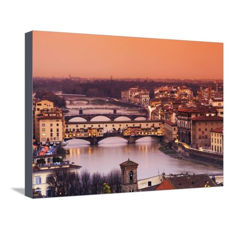 Italy, Florence, Tuscany, Western Europe, 'Ponte Vecchio' and Other Bridges on the Arno River and S Stretched Canvas Print Wall Art By Ken