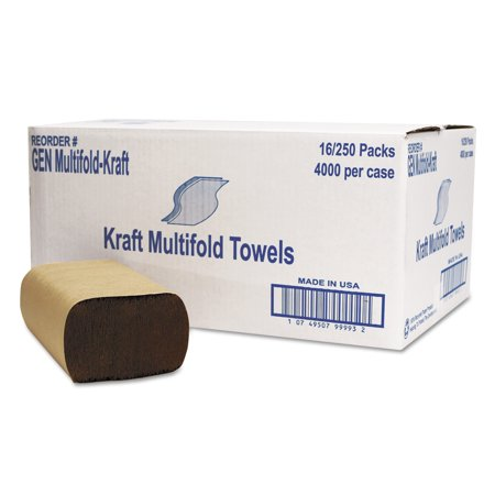 General Supply Kraft 1-Ply Multifold Towels, Brown, 250 count, (Pack of 16)