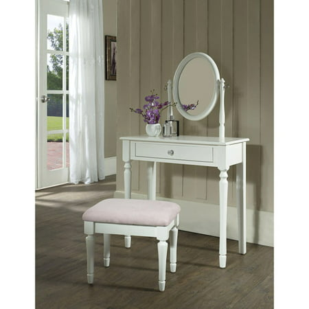 Princess Bedroom Vanity Set with Mirror and Bench, White - Walmart.com