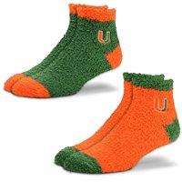 Miami Hurricanes For Bare Feet Women's 2-Pack Sleep Soft Socks