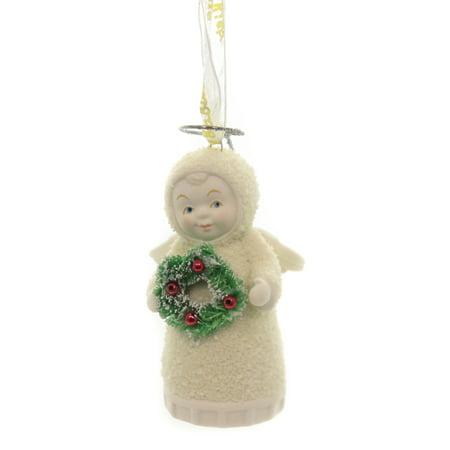 Dept 56 Snowbabies JOYFUL ANGEL ORNAMENT Porcelain Wreath 6003528