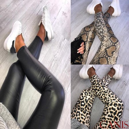 Stretch Soft Footbed - Women Ladies Snake Animal Print High Waist Soft Stretchy Leggings Pants