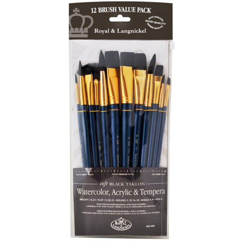 Royal & Langnickel Taklon Brush Set: Black, 12 Pieces