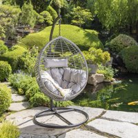 Uriah Outdoor Wicker Hanging Basket Chair with Water Resistant Cushions and Iron Base, Black, Grey
