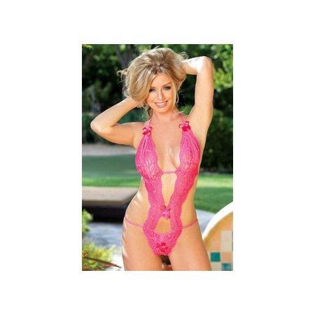 - Shirley of Hollywood Peek A Boo Teddy with Bows 96168 Hot Pink