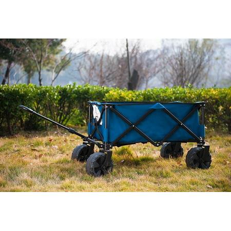 TimberRidge Folding Camping Wagon Cart - Collapsible Sturdy Steel Frame  Garden Beach Wagon  ee3f38b8e5