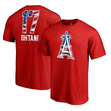 Shohei Ohtani Los Angeles Angels Fanatics Branded 2019 Stars & Stripes Banner Wave Player T-Shirt -