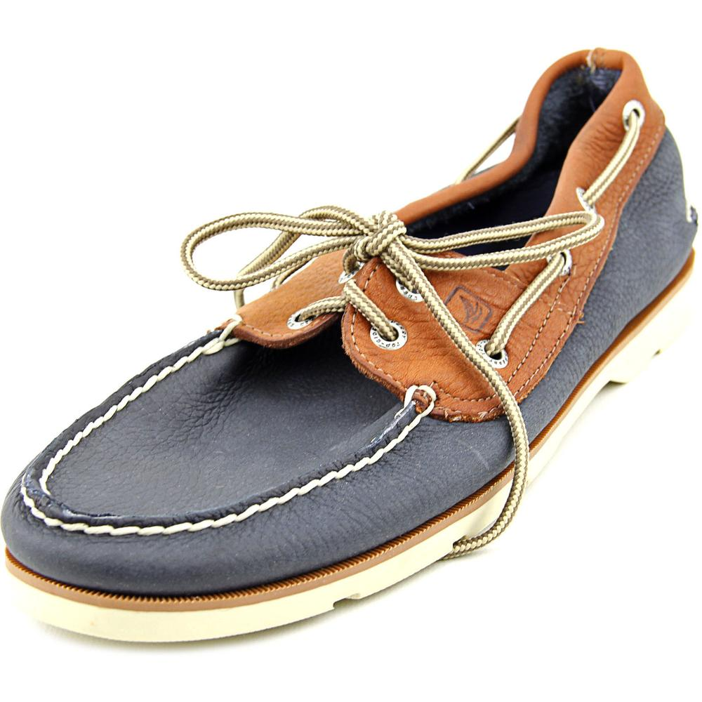Sperry Top Sider Leeward 2-Eye Men  Moc Toe Leather Blue Boat Shoe