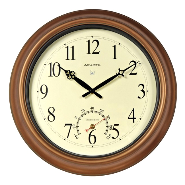AcuRite 18-inch Atomic Metal Copper Outdoor Clock with Thermometer - Analog - Atomic