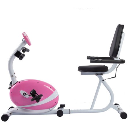 Pink Magnetic Recumbent Bike Exercise Bike w/ LCD Monitor and Pulse Rate Monitoring by Sunny Health & Fitness - P8400
