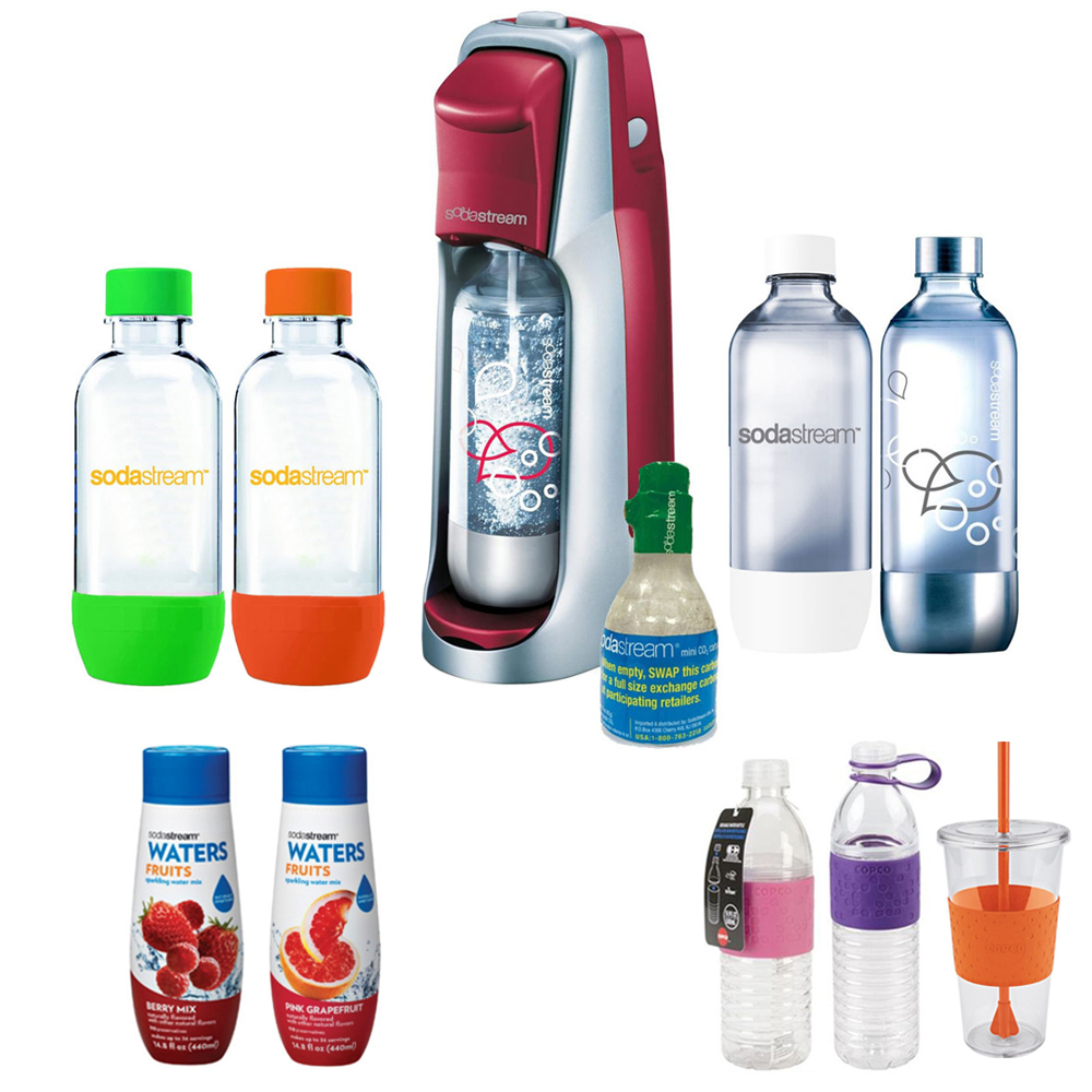 SodaStream Fountain Jet Soda Maker in Red with Exclusive Kit w/ 4 Bottles & Starter CO2, 2 Hydro Bottles Purple, Water Fruits w/ Berry Mix & Pink Grapefruit Flvr & Togo Cup Mug Orange