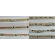 """1/2"""" """"Holiday Cheer"""" Christmas Natural Cotton Twill Tape Holiday Wrapping Craft Sewing Bow; 10 yards"""