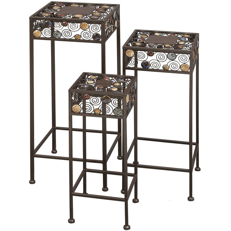 Decmode Metal and Ceramic Plant Stand, Set of 3, Multi Color