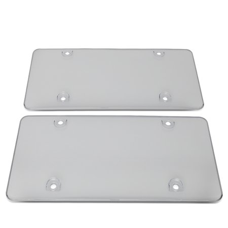 Pair Universal Heavy Duty Acrylic Bubble Style Vehicle Car License Plate Cover Shield Protector Front + Rear ( Clear ) (License Plate Protector)