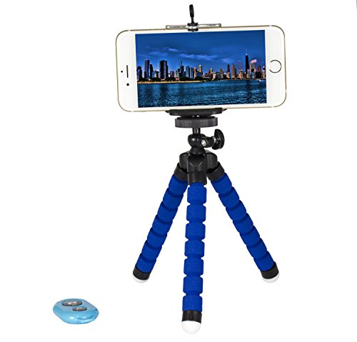 Tripod Selfie Stick 3-in-1 Cell Phone Photo Kit w/Bluetooth Remote Shutter Control, Tripod Stand, Phone Holder Mount Bendable Leg 360 Rotation Portable for Travel Outdoors Parties (Blue Kit)