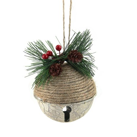 "3"" Rustic Jute Pine Cone and Holly Berry Jingle Bell Christmas Ornament ()"