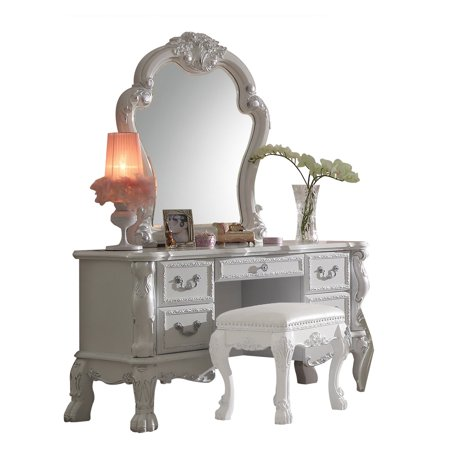 Acme Furniture Dresden Vanity Desk with Optional Mirror and Stool