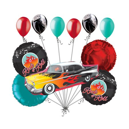 11pc Muscle Rock-n-Roll Vehicle Happy Birthday Balloon Bouquet Car Flames (50's Birthday)