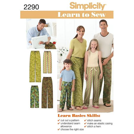 Simplicity Sewing Pattern 2290 Child's, Teens' and Adults' Pants, A (XS - L / XS - XL), Child's, teens' and adults' pants in size a (xs - l / xs - xl),.., By Simplicity Creative Group Inc -