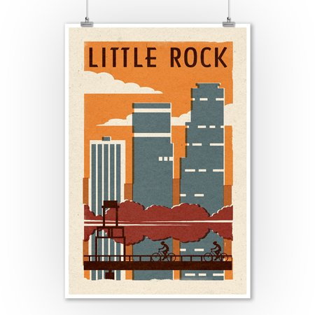 Little Rock, Arkansas - Woodblock - Lantern Press Artwork (9x12 Art Print, Wall Decor Travel Poster)