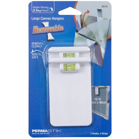 PermaStik Removable Large Canvas Hangers, 2 x Pack, 2 Hooks & 4 Adhesive Strips, Inbuilt Level for Accurate Mounting, Holds 7.7lbs Each, White