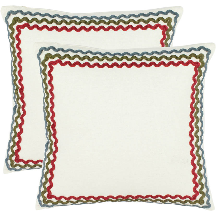 "Safavieh Annie 18"" x 18"" White Pillow, Set of 2"