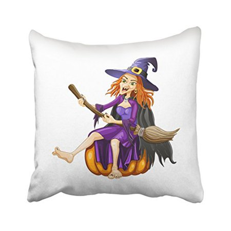 WinHome Funny Halloween Cartoon Witch Bloom And Pumpkin Decorative Pillow Cover With Hidden Zipper Decor Cushion Two Sides 18x18 inches - Funny Witch Halloween Cartoons