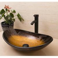 Oval Bowl Countertop Bathroom Glass Vessel Sink Faucet & Pop-up Drain Combo Set