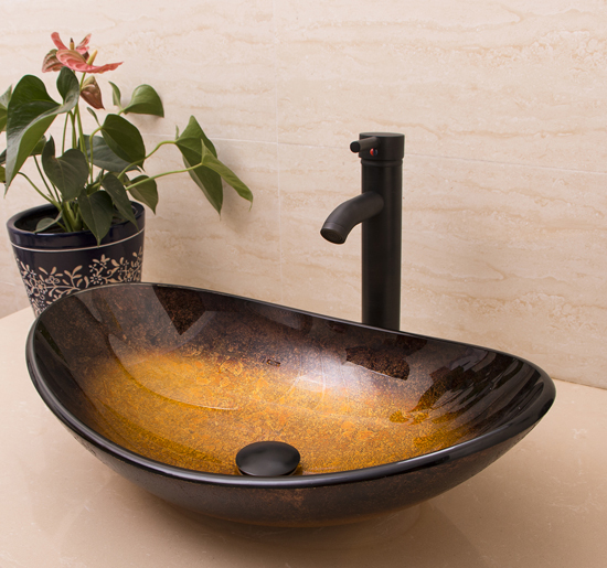 Oval Bowl Countertop Bathroom Glass Vessel Sink Faucet & Pop-up Drain Combo Set