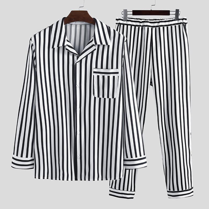 Details about  /Men Pajama Set Suit Silk Sleepwear Nightwear Summer Male Home Wear Casual Black