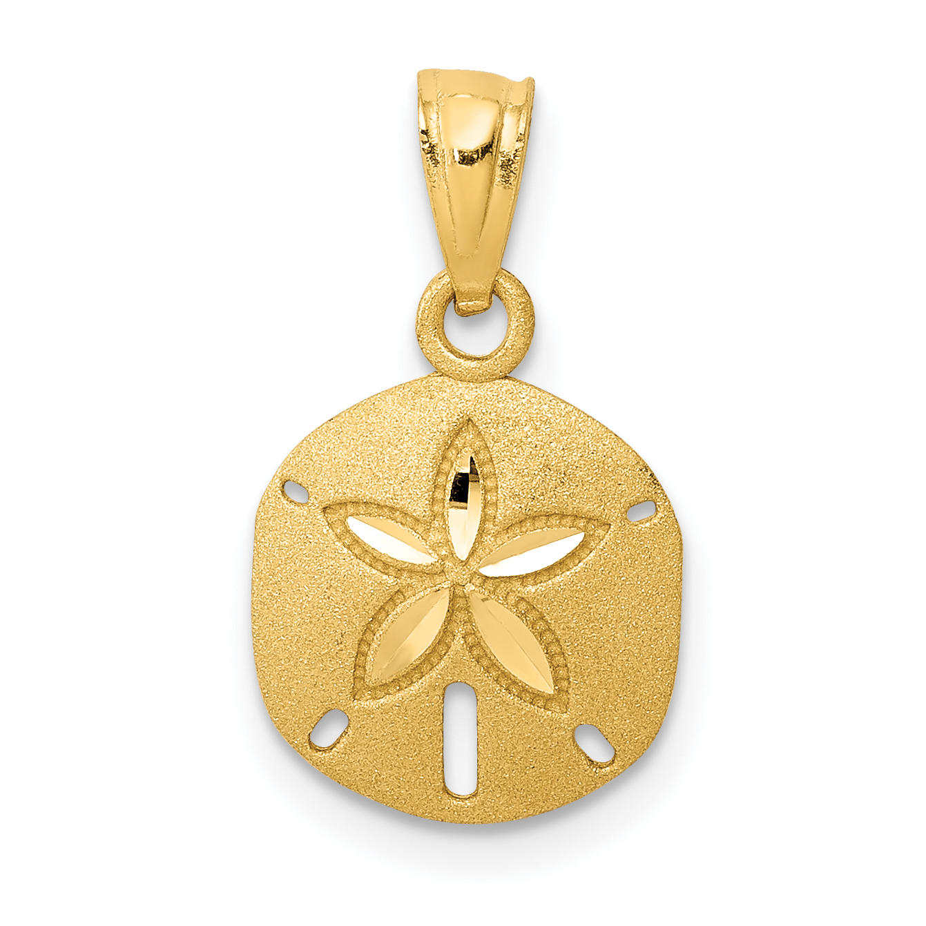 14K White Brushed /& Polished Sand Dollar Starfish Necklace