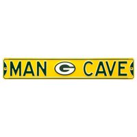 """Green Bay Packers 6"""" x 36"""" Man Cave Steel Street Sign - Yellow - No Size"""