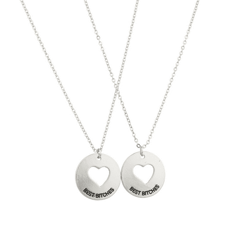 Lux Accessories Cutout Heart Best Bitches Bitch BFF Best Friends Forever Necklace Set (2 PC).](Friends Forever Heart)