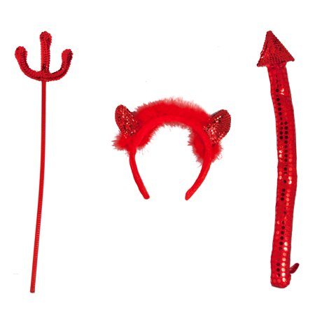 Star Power Devil Pitchfork  Horns    Tail 3Pc Accessory Kit  Red  One Size