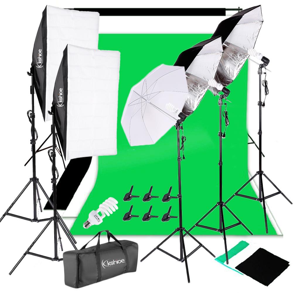 Ktaxon Photography Kit 4 Light Bulb 3 Umbrella Muslin Backdrop Stand Set Photo Studio