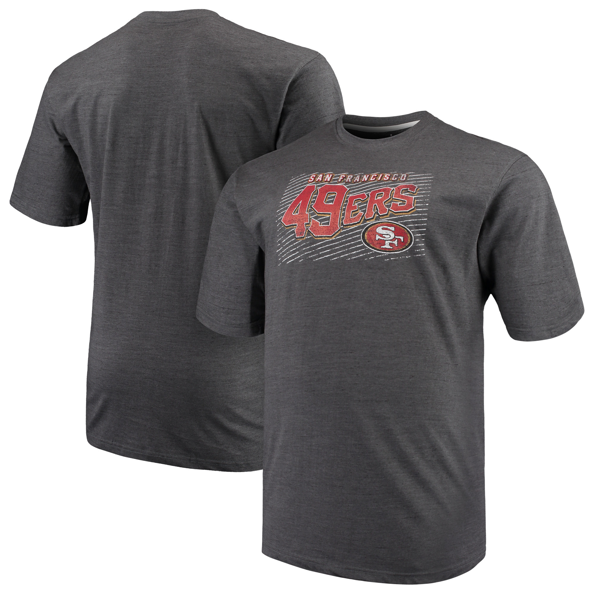 Men's Majestic Charcoal San Francisco 49ers Big & Tall Royal Domination Malt T-Shirt