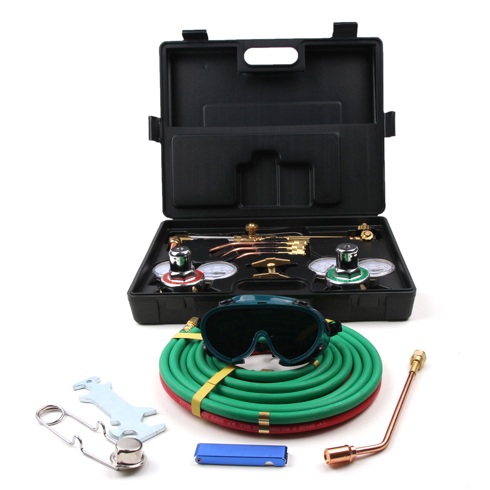 "Zimtown Welding & Cutting Torch Kit, Include Oxygen & Acetylene Pressure Regulator, No.0, 2, 4 Welding Nozzles, heating Tip, Goggles, Spark Lighter, Case, & 15' x 1/4"" Twin Color Hose"