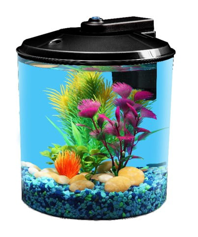 "Aqua Culture 1.5-Gallon Aquarium Kit, LED Lighting and Internal Power Filter, 8.5"" Diameter x 9.5"" H by Walmart Stores, Inc."