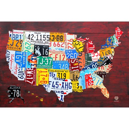 License Plate Map Of The Us Poster  36X24  In A Silver Metal Frame