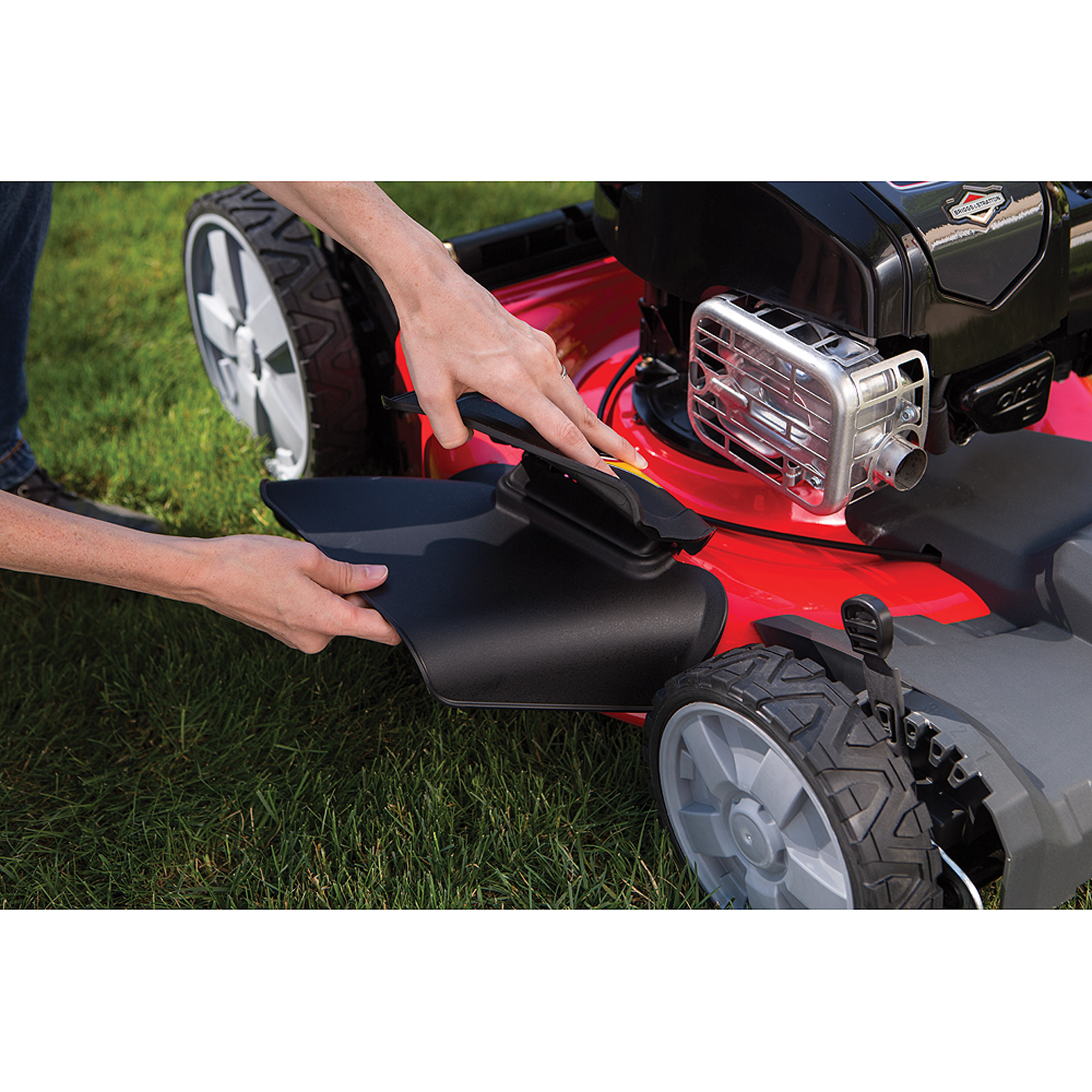 Snapper 21 self propelled gas mower with side discharge mulching rear bag and ebay - Kit mulching universel ...