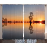Nautical Curtains 2 Panels Set  Silhouette of Single Tree over Still Lake Basin with Last Orange