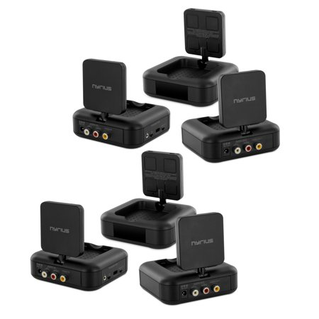 Nyrius 5.8GHz 4 Channel Wireless Video & Audio Sender Transmitter & Receiver with IR Remote Extender for Streaming Cable, Satellite, DVD to TV Wirelessly - 2 PACK (1 Channel Handheld Transmitter)