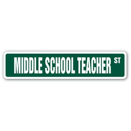 MIDDLE SCHOOL TEACHER Street Sign sixth seventh eighth junior educator | Indoor/Outdoor | 24