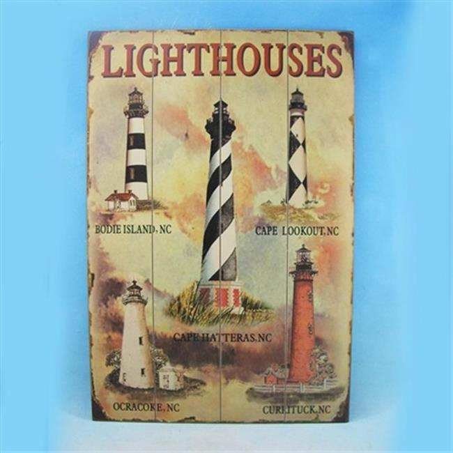 Handcrafted Model Ships Y-42688-LW24 Wooden Lighthouse Wall Plaque 24 in. Signs & Flags Decorative Accent