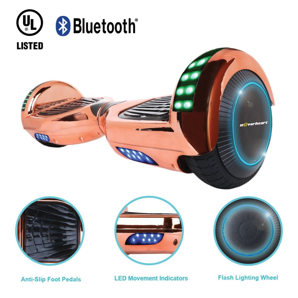6.5'' Hoverboard Bluetooth Speaker LED STAR FLASHING WHEELS Scooter UL Listed Chrome RoseGold