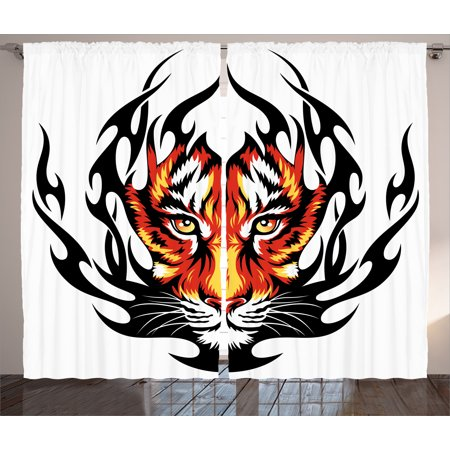 Tattoo Decor Curtains 2 Panels Set, Jungles Prince Tigers Head in Black Flames Frame looking with Cat Eyes, Window Drapes for Living Room Bedroom, 108W X 84L Inches, Black and Orange , by Ambesonne (Jungle Block)