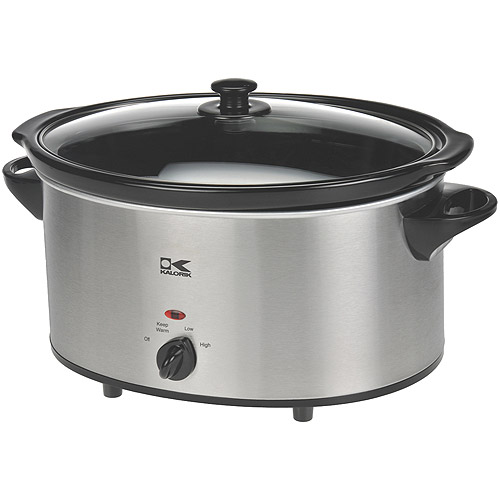Kalorik 7-Quart Slow Cooker, Black and Stainless Steel