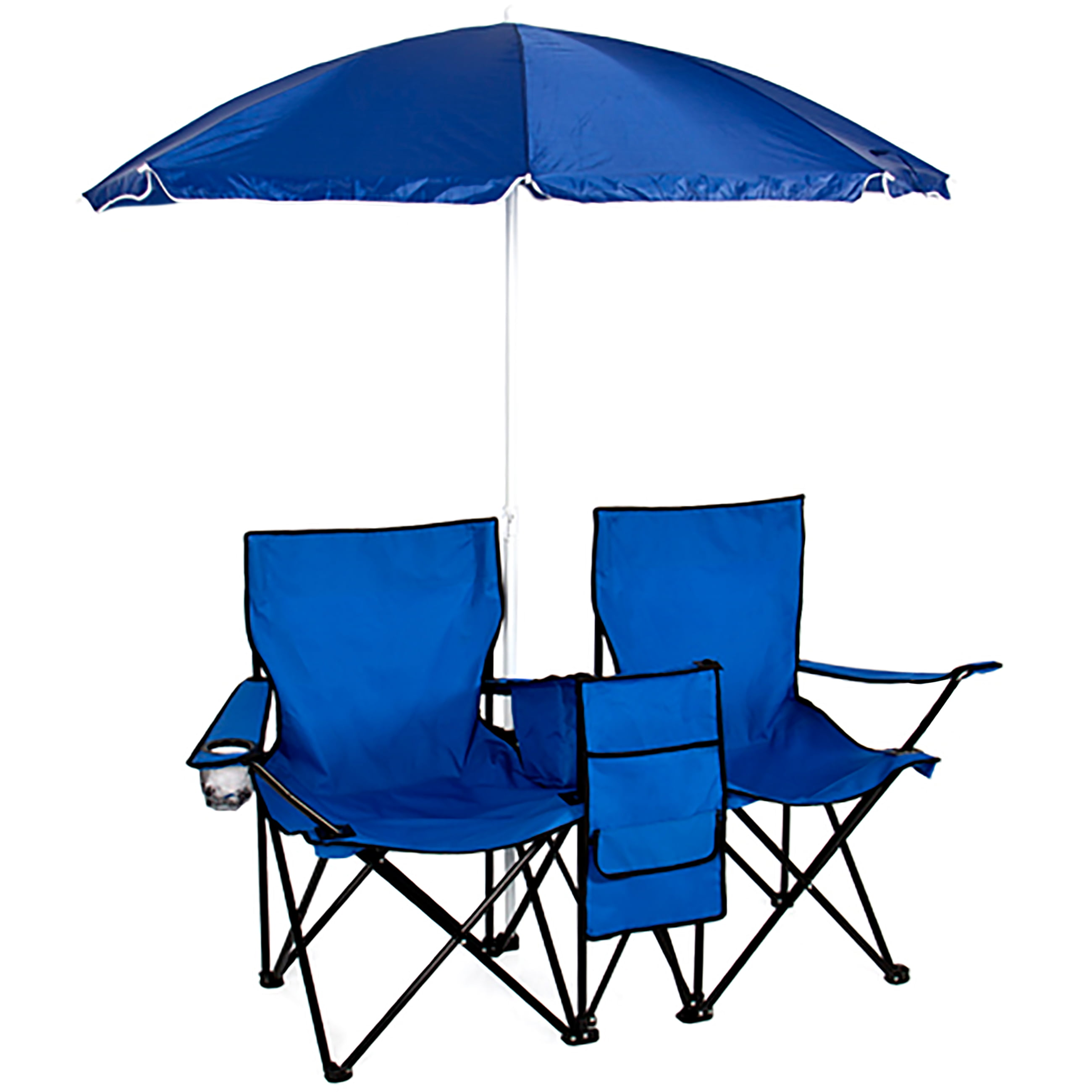 Camping chairs with umbrella - Picnic Double Folding Chair W Umbrella Table Cooler Fold Up Beach Camping Chair Walmart Com